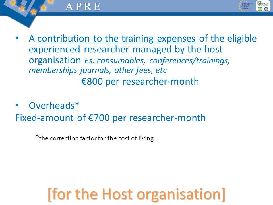 [for the Host organisation]
